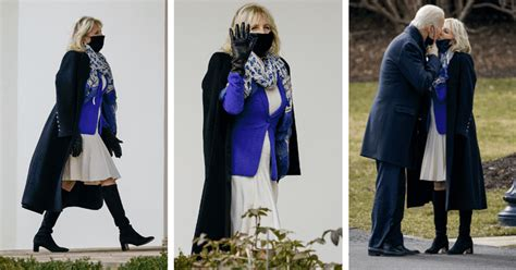 Jill Biden wows in pleated dress and peacoat as she kisses